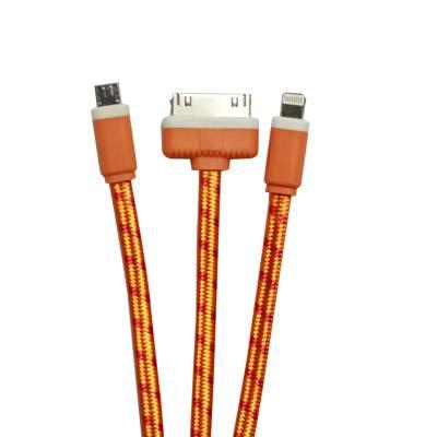 Cáp sạc USB dây Dù 0.3m 3in1 (v8-i4-i6-Sky)