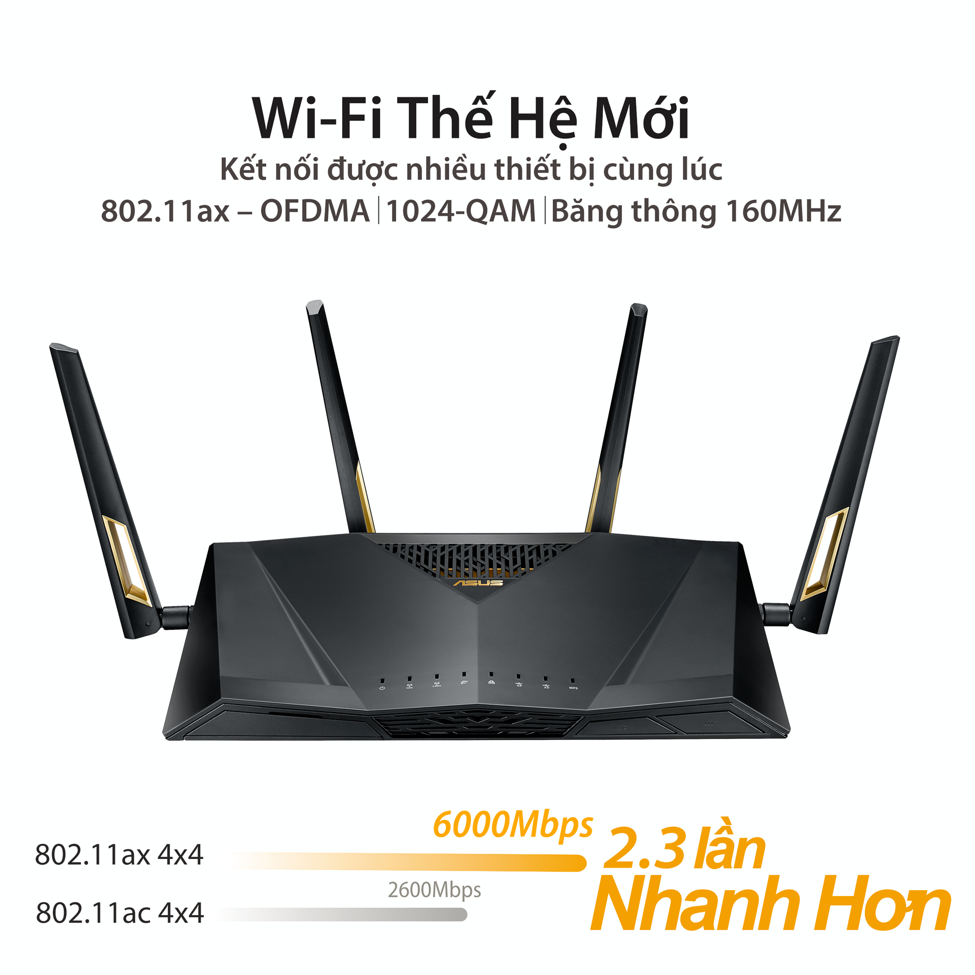 ASUS RT-AX88U (Gaming Router) Wifi AX6000 2 băng tần, Wifi 6 (802.11ax), AiMesh 360 WIFI Mesh, AiProtection, USB 3.1
