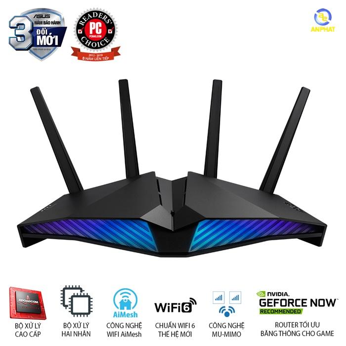 ASUS AURA RGB RT-AX82U (Gaming Router) Wifi AX5400 2 băng tần, Wifi 6 (802.11ax), AiMesh 360 WIFI Mesh, AiProtection, US