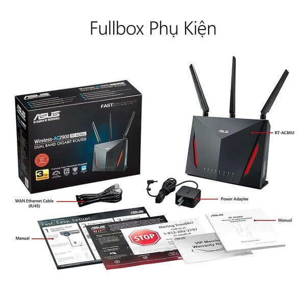 ASUS RT-AC86U (1 bộ = 2 chiếc) (Gaming Router) Wifi AC2900 2 băng tần, AiMesh 360 WIFI Mesh, WTFast, AiProtection, chips
