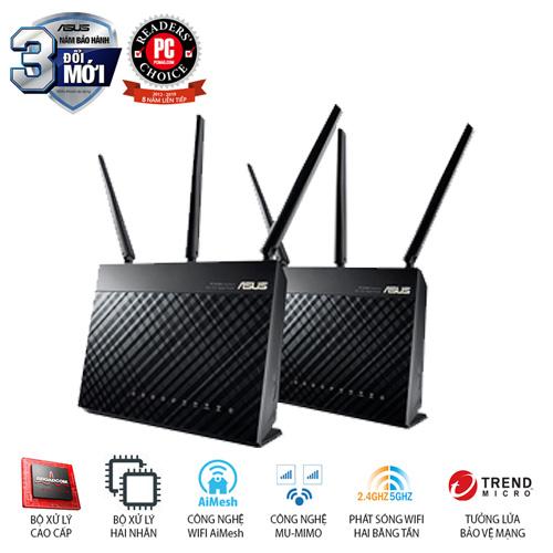 ASUS RT-AC68U (Chuẩn Doanh Nghiệp) Chuẩn AC1900 AiMesh 360 WIFI Mesh, 2 băng tần, chipset Broadcom, AiProtection, USB 3.